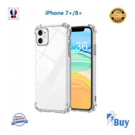 Antichoc Coque Silicone transparente iPhone 7plus /8plus X XR XS Max 11 12 pro mini