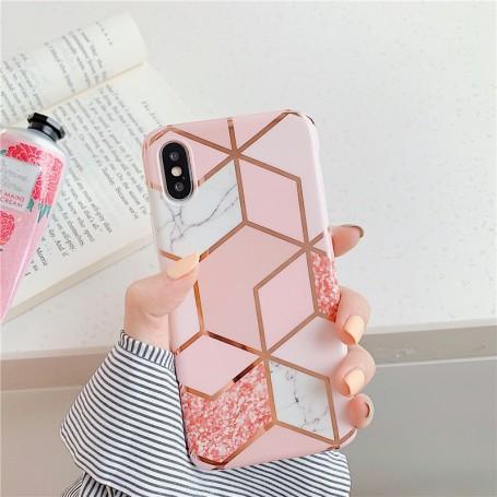 Coque Motif Marbre Rose iPhone 7/8 Plus X XR XS XS MAX 11 11PRO  PRO MAX 12 12PRO 12PRO MAX