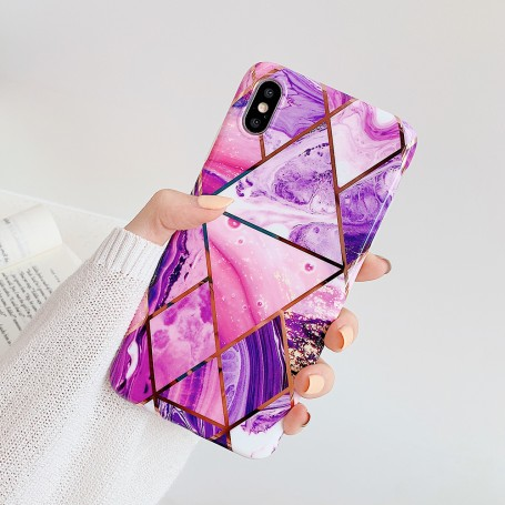 Coque Motif Marbre Violet iPhone 7/8 Plus X XR XS XS MAX 11 11PRO  PRO MAX 12 12PRO 12PRO MAX
