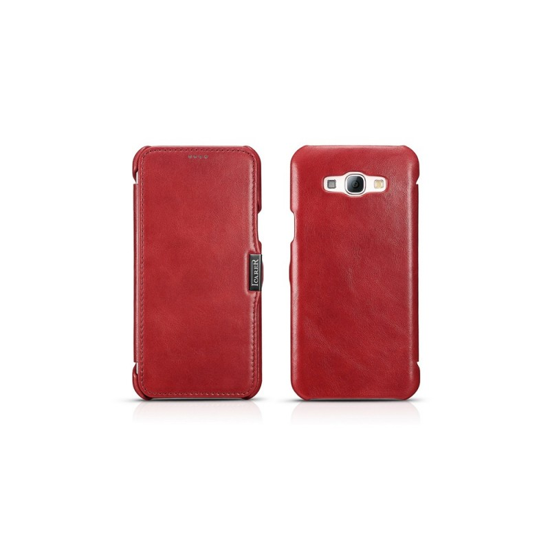 Etui cuir Galaxy A8 rouge