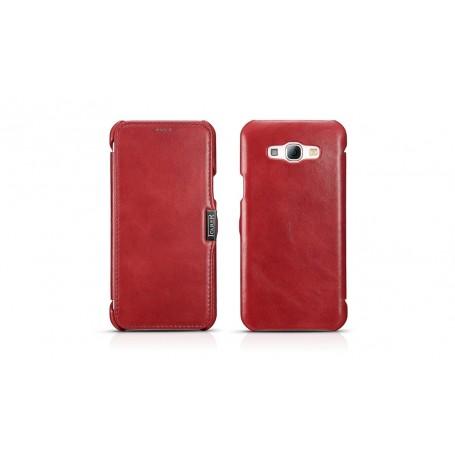 Etui cuir Galaxy A8 rouge