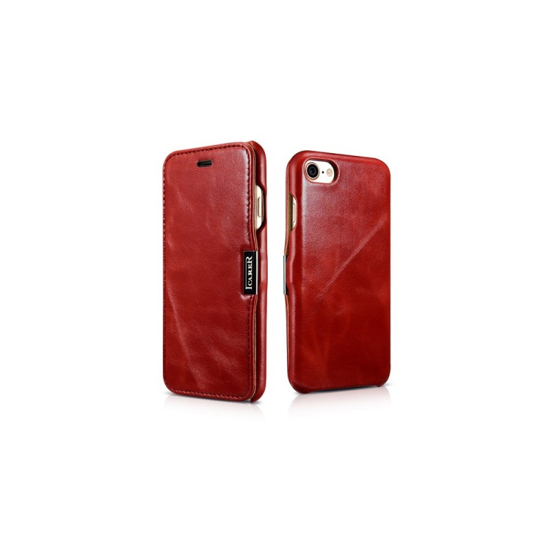 Etui cuir iPhone 7 8 rouge