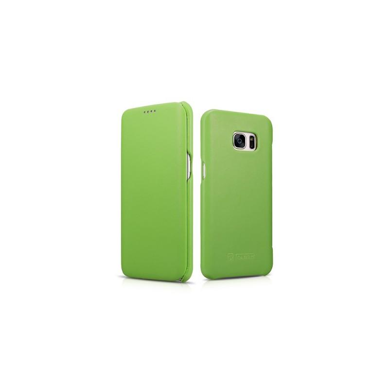 Etui galaxy S7 cuir vert