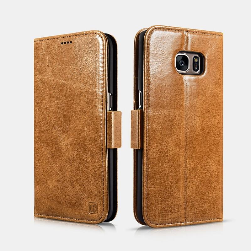 Etui cuir Galaxy S7 Edge marron