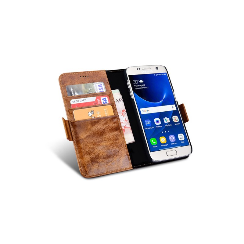 Etui cuir Galaxy S7 Edge marron