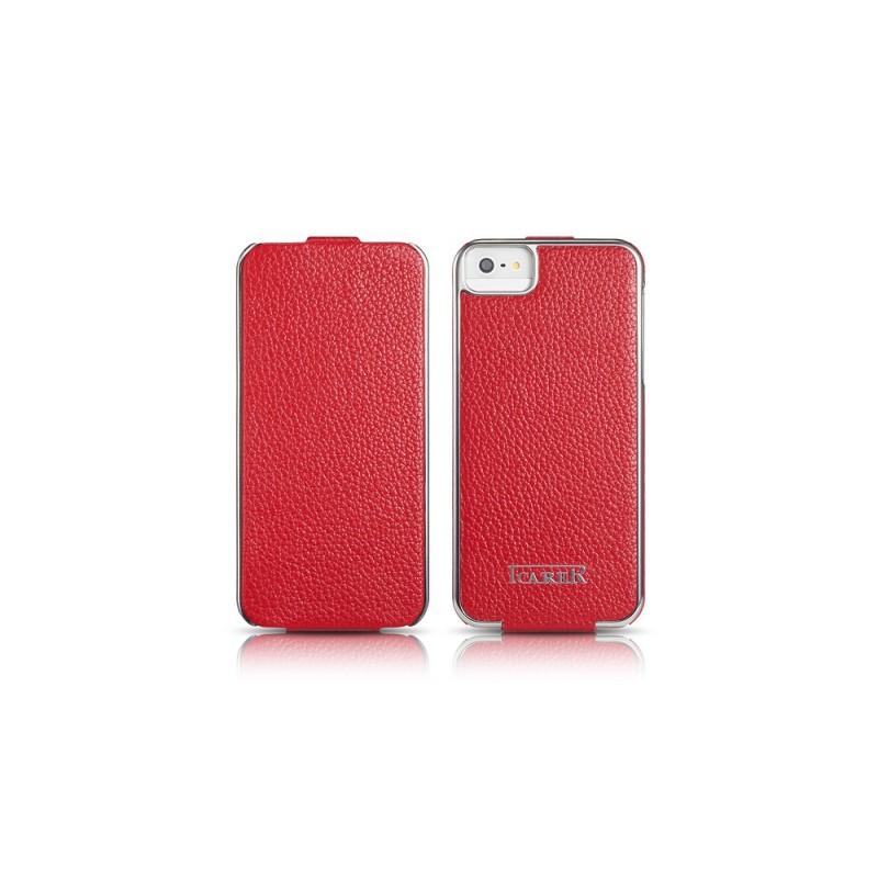 Etui cuir iPhone 5 5S SE rouge