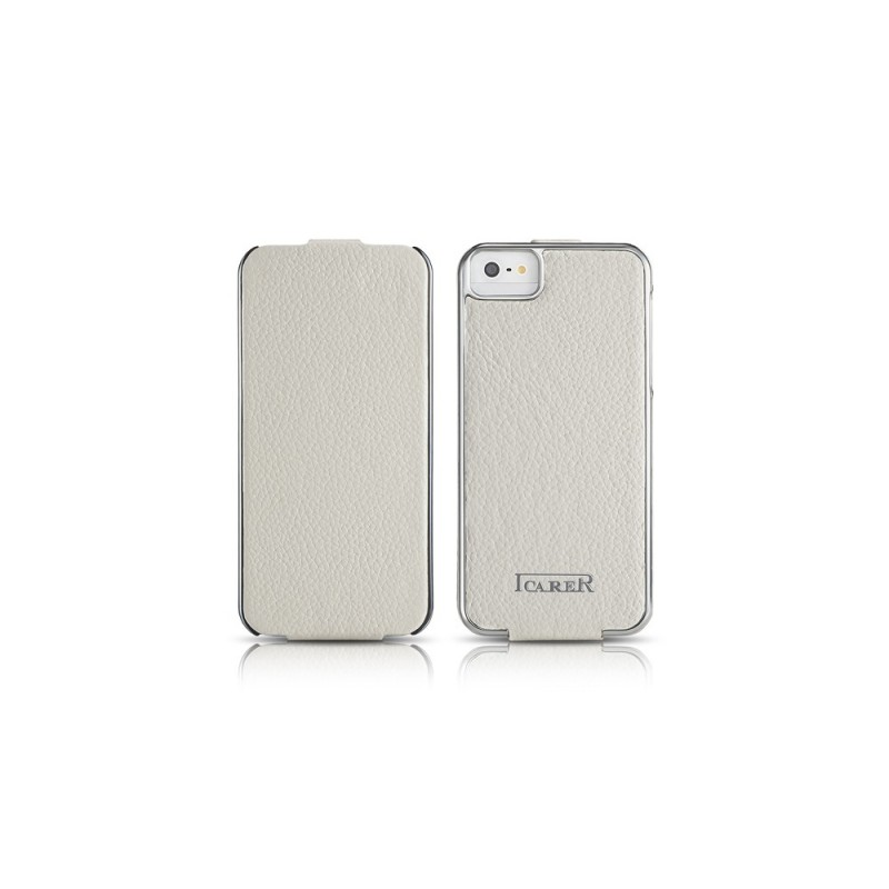 Etui cuir iPhone 5 5S SE BLANC