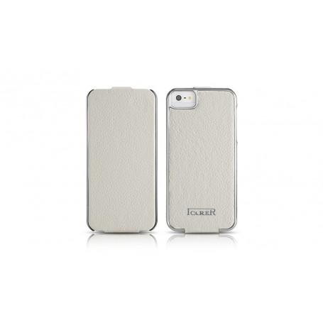 Etui cuir iPhone 5 5S SE BLANC