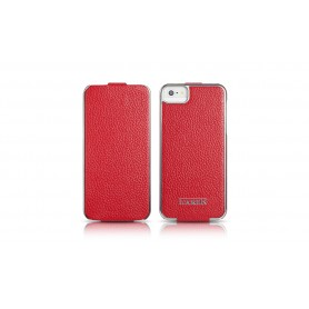 Etui cuir iPhone 5 5S SE rouge