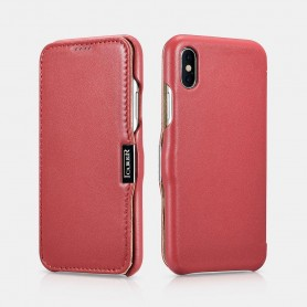 Etui cuir iPhone X XS rouge