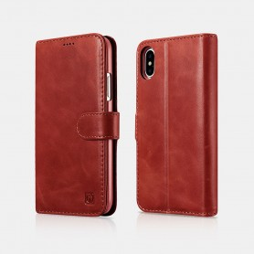 Etui cuir iPhone X XS rouge