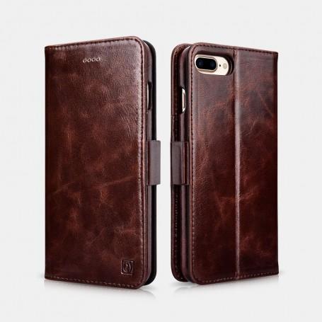 iPhone 7 Plus /8 Plus Etui oil wax Leather détachable 2 en 1 Café