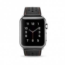 Apple iWatch 38 mm Bracelet en cuir de luxe Noir