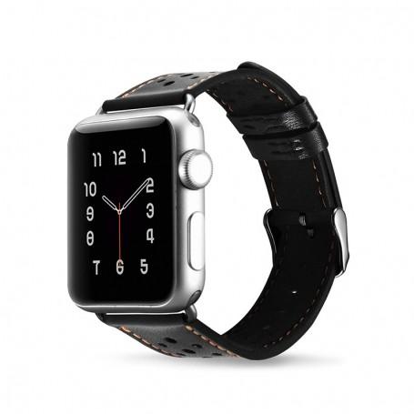 Apple Watch 38 mm Bracelet en cuir de luxe Noir