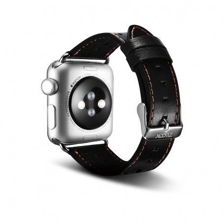 Bracelet en cuir de luxe Noir Pour Apple Watch 42 mm