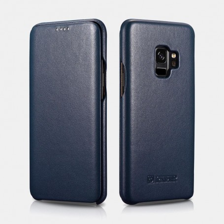 Samsung S9 Plus Etui en cuir véritable Curved Edge Série Luxury Bleu