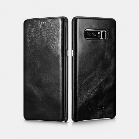 Samsung Note 8 Etui Noir en cuir de luxe série Vintage bords courbés