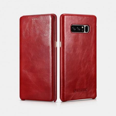 Samsung Note 8 Etui Rouge en cuir de luxe série Vintage bords courbés
