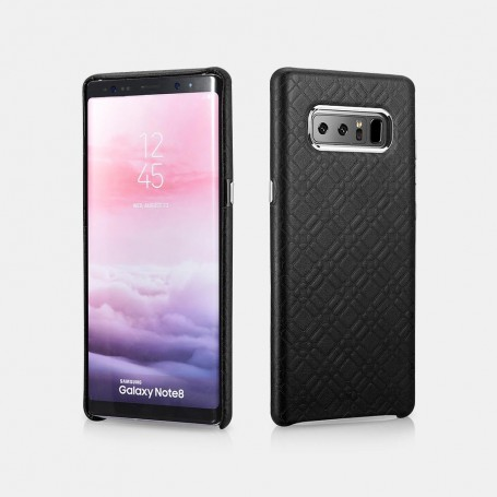 Samsung Note 8 Coque arrière en cuir véritable motif carré Noir