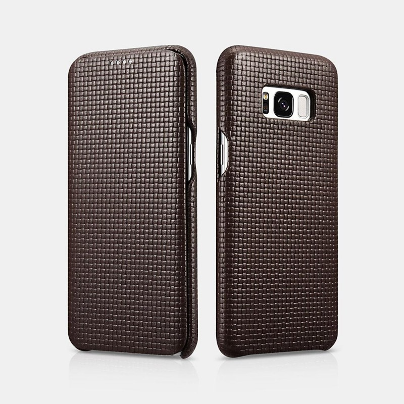 Samsung galaxy S8 Woven Pattern Curved Edge Real Leather Folio case Cafe