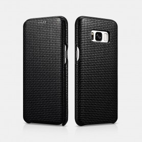 Samsung galaxy S8 Woven Pattern Curved Edge Real Leather Folio case