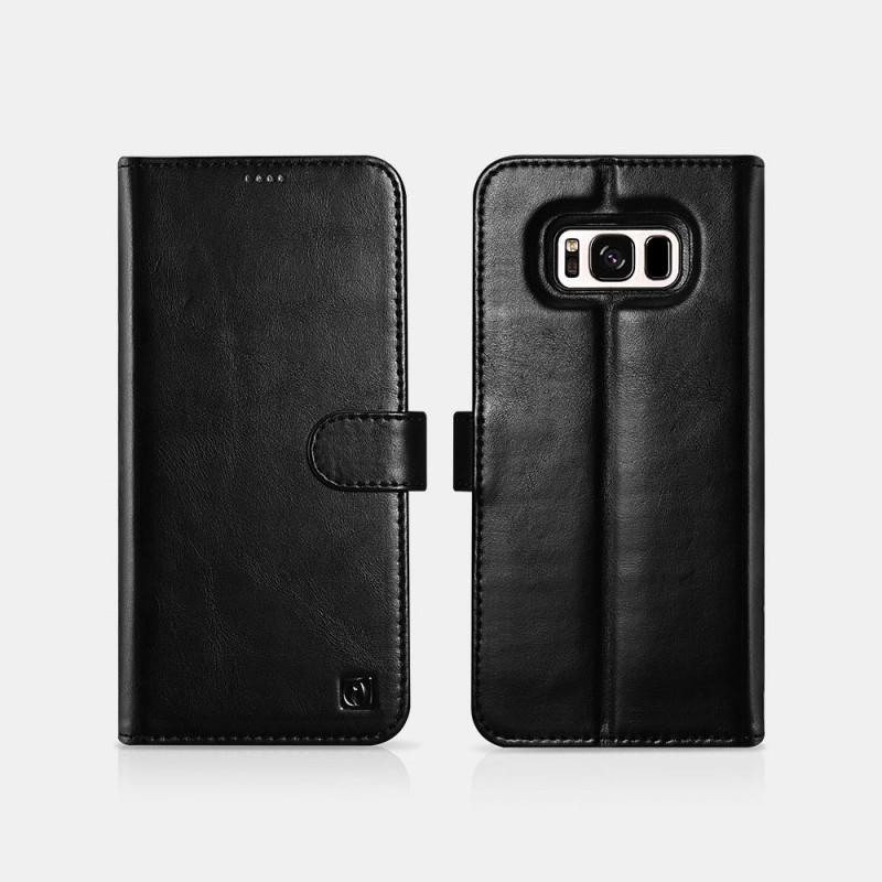 Samsung S8 Genuine Leather Detachable 2 in 1 Wallet Folio Case Noir