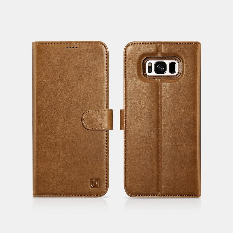 Samsung S8 Genuine Leather Detachable 2 in 1 Wallet Folio Case Marron