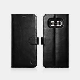 Samsung S8 Genuine Leather Detachable 2 in 1 Wallet Folio Case Noir