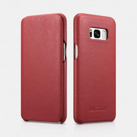Samsung S8 Plus Luxury Curved Edge Real Leather Folio case Rouge