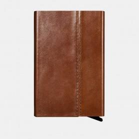 Porte-cartes en véritable cuir Marron