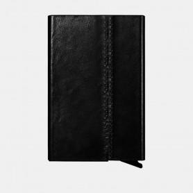Porte-cartes en véritable cuir Noir