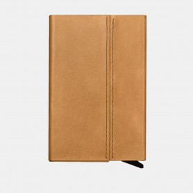 Porte-cartes en véritable cuir Camel