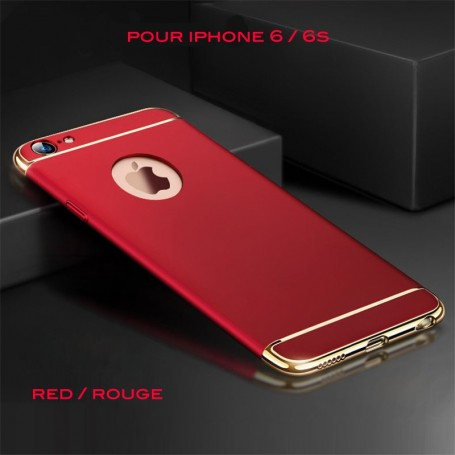 iPhone 6 6s coque Ultra fine 3 en 1 en PC dur Rouge