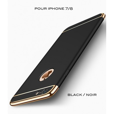 Coque Ultra fine 3 en 1 en PC dur Noir Gold iPhone 7/8