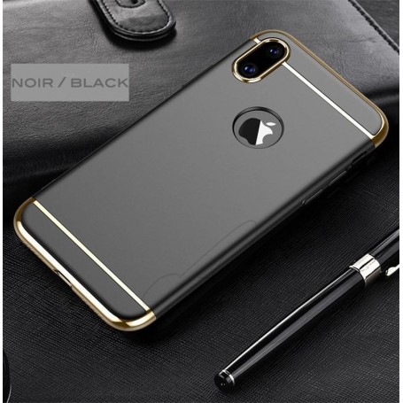 iPhone X & XS coque Ultra fine 3 en 1 en PC dur Noir Gold