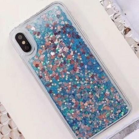 Coque TPU Sables Mouvants Liquide Scintillants Coeurs Etoiles iPhone XS Max Bleu