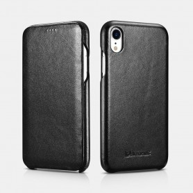 iPhone XR Curved Edge Série Luxury Etui en Cuir Véritable Noir