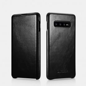 Samsung Galaxy S10 Curved Edge Etui en Cuir de Luxe Vintage Noir