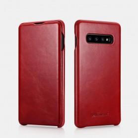 Samsung Galaxy S10 Plus  Curved Edge Etui en Cuir de Luxe Vintage Rouge