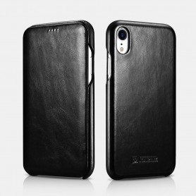 "iPhone XR Curved Edge Etui en Cuir de Luxe Vintage Folio Case (6.1"") Noir"