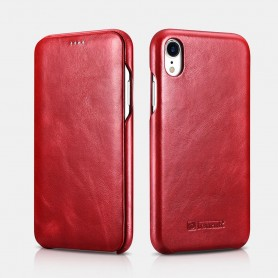 "iPhone XR Curved Edge Etui en Cuir de Luxe Vintage Folio Case (6.1"") Rouge"