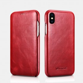 iPhone XS Max Curved Edge Série Vintage Etui en Cuir Véritable Rouge