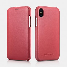 iPhone XS Max Curved Edge Série Luxury Etui en Cuir Véritable Rouge