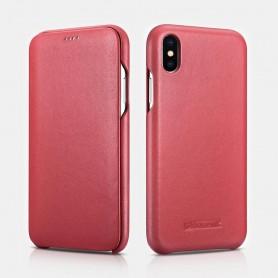 iPhone XS Max Curved Edge Série Luxury Etui en Cuir Véritable Rouge