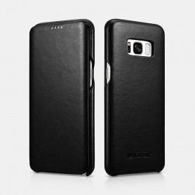 Samsung S8 Plus Luxury Curved Edge Real Leather Folio case Noir